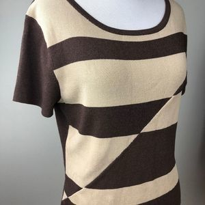 Finity Brown Tan Fitted Sweater Large Top